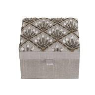 Grey Embroidered Jewellery Box 15x15cm