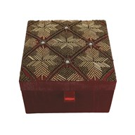 Gold Embroidered Jewellery Box 15x15cm