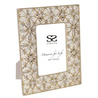 Ivory & Pearl Embroidered Photo Frame 4x6