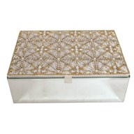 Ivory & Pearl Embroidered Jewellery Box 22cm