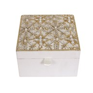 Ivory & Pearl Embroidered Jewellery Box 15cm