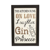 """This Kitchen Runs on Love & Gin"" Wall Art 20x31cm"