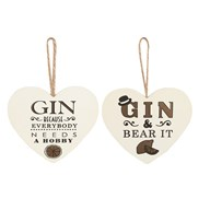 Gin Heart Plaques 14x13cm 2 Assorted