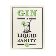 """Gin Is Liquid Sanity"" Wall Plaque 24x31cm"
