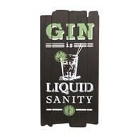"Black ""Gin is Liquid Sanity"" Wall Art 25x49cm"