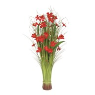 Grass Bundle Red Flowers 100cm