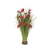 Grass Bundle Red Flowers 70cm