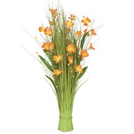 Grass Bundle Orange Flowers 100cm