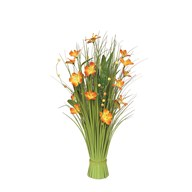 Grass Bundle Orange Flowers 70cm