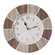 Tile Effect Clock Natural 40cm