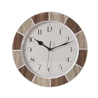Tile Effect Clock Natural 30cm