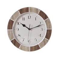 Tile Effect Clock Natural 30cm