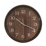 Wooden Look Clock Dark Brown 38cm
