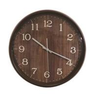 Wooden Look Clock Dark Brown 38cm