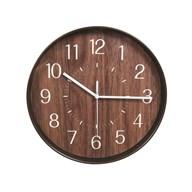 Wooden Look Clock Dark Brown 28cm