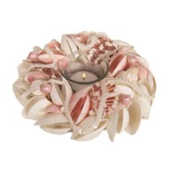 Shell Round Tealight Holder Pink 18cm