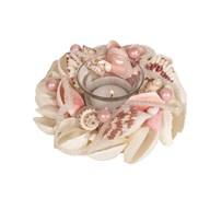 Shell Round Tealight Holder Pink 15cm