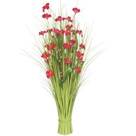 Grass Bundle Pink Flowers 100cm