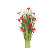 Grass Bundle Pink Flowers 70cm