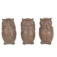 Set of 3 Owls Brown 13cm