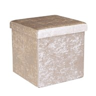 Foldable Ottoman Velvet Cream 38cm