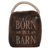 Born in a Barn Cube Door Stop Brown 16cm