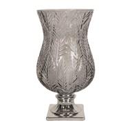 Leaf Design Glass Hurricane 31cm