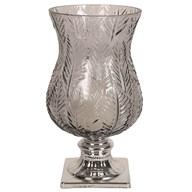 Leaf Design Glass Hurricane 36cm