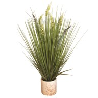 Floral Grass in Marble Pot 66cm