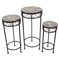 Set of 3 Marble Effect Tables/Plant Stands 65/56/48cm