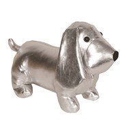 Dog Doorstop Silver 23cm