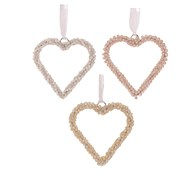 Pearl Hanging Heart 10cm 3 Ast