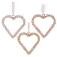 Pearl Hanging Heart 12cm 3 Ast