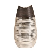Brown & Gold Oval Vase 28cm