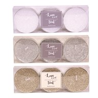 Pack of 3 Glitter Maxi Tealights 3 Assorted