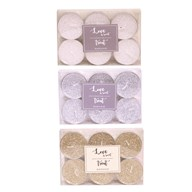 Pack of 6 Glitter Tealights 3 Assorted