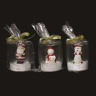 Novelty Christmas Candle 7cm 3 Assorted