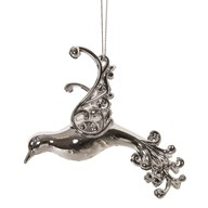 Bird Tree Decoration 11.5cm Silver