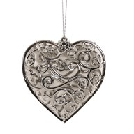 Heart Tree Decoration 10cm Silver