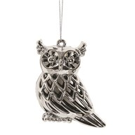 Owl Tree Decoration 9cm Silver