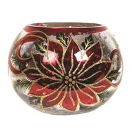 Poinsettia Globe Tealight Holder 14.5cm