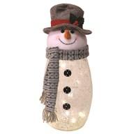 LED Crackle Snowman 24cm
