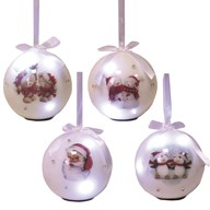 LED Bauble White 10cm 4 Assorted