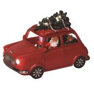 LED Santa In Car Red 23x15cm