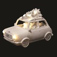 LED Santa In Car White 23x15cm