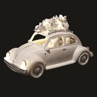 LED Santa In VW Beetle White 25cm