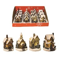 Winter Houses 10cm Natural 4 Assorted