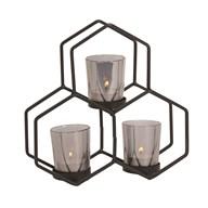 Black Geometric 3 Tealight Holder 22x21cm