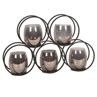 Black Circular 5 Tealight Holder 38x24cm