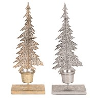 Christmas Tree Tealight Holder 34cm 2 Assorted